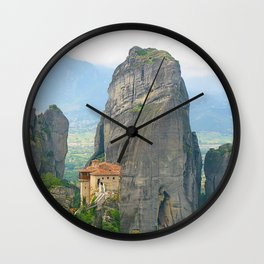 View of one of the monasteries of Meteora. Greece Wall Clock