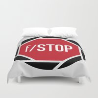 aperture Duvet Covers featuring f/STOP SIGN by Sandhill