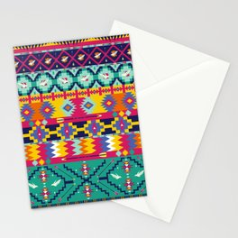 Seamless colorful aztec pattern with birds Stationery Cards