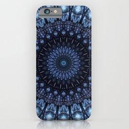 Dark and light blue mandala iPhone Case