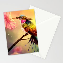 Gorgeous Colorful Fairytale Hummingbird Creature Licking Blossom Juice UHD Stationery Cards
