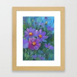 Garden flowers (Cosmos bipinnatus, Mexican aster) pastel painting on pastel paper) Framed Art Print