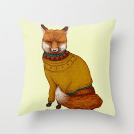Foxy sweater Throw Pillow