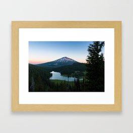 Mount Bachelor Sunset at Todd Lake Framed Art Print