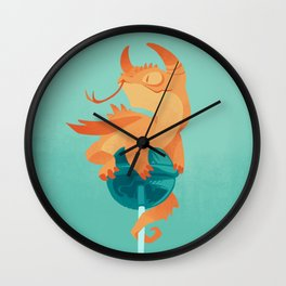 Dragonpop spiky citric blueberry Wall Clock