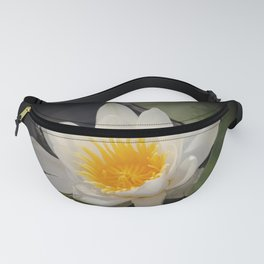 White Waterlily On A Dark Background #decor #society6 Fanny Pack