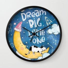 Dream Big Little One- Cute Illustration Wall Clock