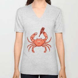Crab Drinking Beer Unisex V-Neck