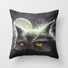 Owl & The Moon Throw Pillow