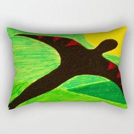 The Birdman On A Solo Flight - Green Tint Rectangular Pillow