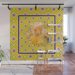 Peachy German Iris Blue & Yellow Art Wall Mural