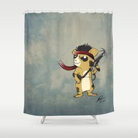 hamster Shower Curtains featuring Hamster Rambo by Carrillo Art Studio