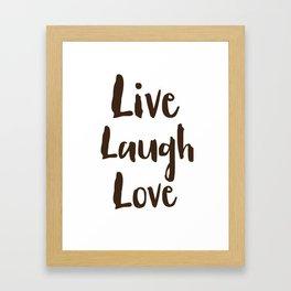 Live Laugh Love vintage brushstrokes Framed Art Print