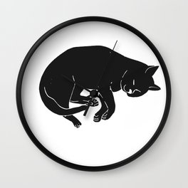 Sleepy Cat takes a nap | Linocut Wall Clock