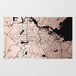 Amsterdam Rosegold on Black Street Map Rug