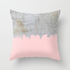 Paint with pink on concrete Throw Pillow