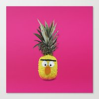 sesame street Canvas Prints featuring Bert - Sesame Street Pineapple by SandraSuarez