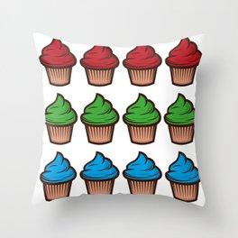 RGB Cupcakes Throw Pillow