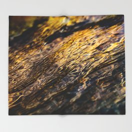 River Ripples in Yellow Gold and Brown Throw Blanket