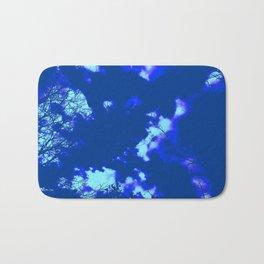 Abstract landscape Blue tree clouds Bath Mat