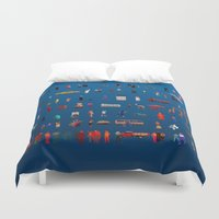 turkey Duvet Covers featuring TURKEY PEOPLE by Johnny Bull