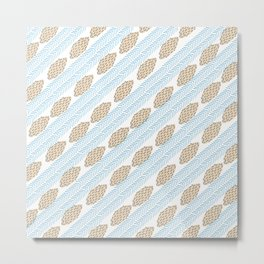 Blue brown watercolor brushstrokes leaves chevron Metal Print