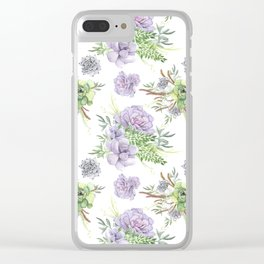 Desert Succulents Purple and Green Clear iPhone Case