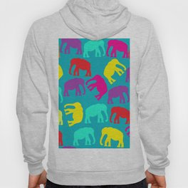 Elephants in blue background Hoody