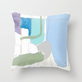 stone by stone 4 - abstract art fresh color turquoise, mint, purple, white, gray Throw Pillow