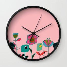 Mid century flowers pink Wall Clock