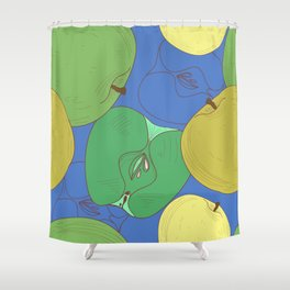 Seamless pattern with apples. Fruit Shower Curtain