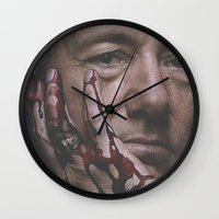 house of cards Wall Clocks featuring Frank Underwood / House of Cards by Earl of Grey