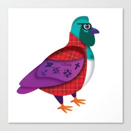 HIPSTER PIDGEON Canvas Print