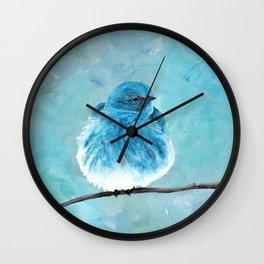 Mountain Bluebird Acrylic Art, Blue Bird Painting, Bird on a Branch, Wall Art, Fluffy Bird Wall Clock
