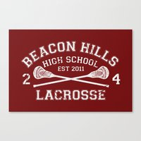 lacrosse Canvas Prints featuring Beacon Hills Lacrosse by Dorothy Leigh