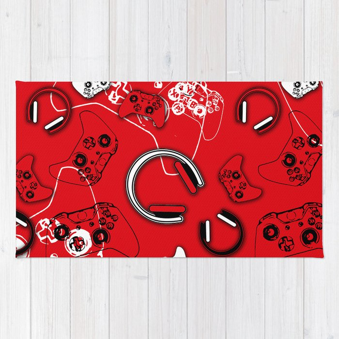 Gamers Red Rug By Ts55 Society6