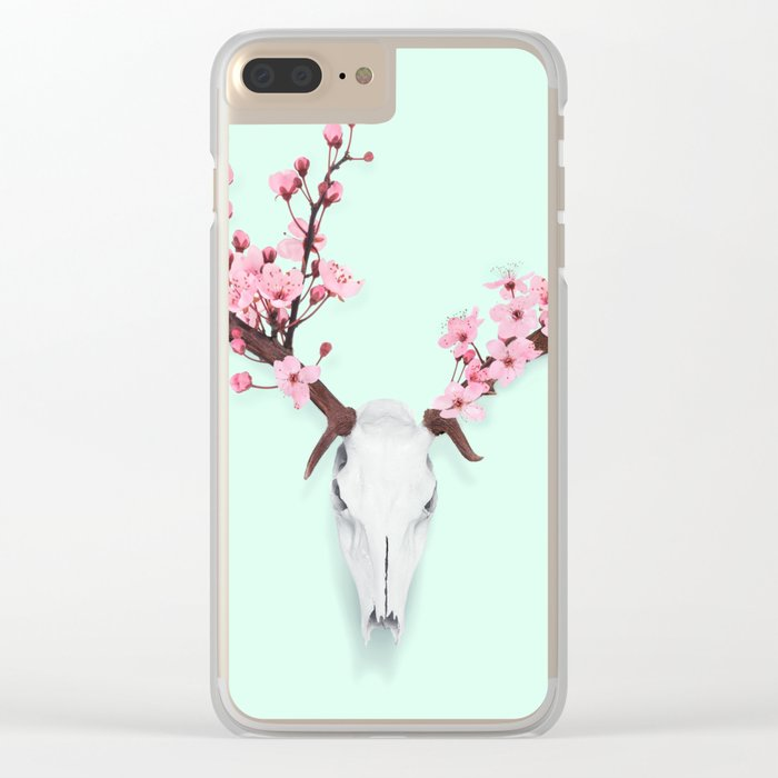 CHERRY BLOSSOM SKULL Clear iPhone Case