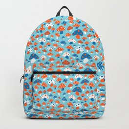 Ditsy Mushrooms in Mod Blue Backpack