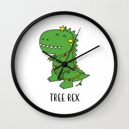 Tree Rex Funny Dinosaur Christmas T-shirt Wall Clock
