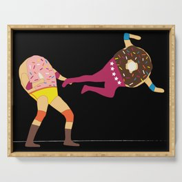 Dropkicks and Donuts (Black background) Serving Tray