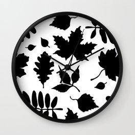 Bold Black Leaves Pattern Wall Clock