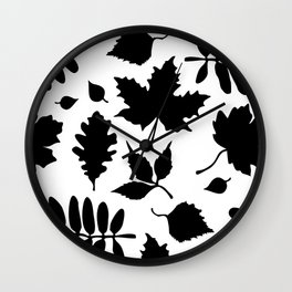 Bold Black Leaves Pattern Wall Clock