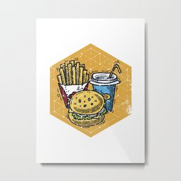 Geometric Art • Cartoon Cheeseburger and Fries Metal Print