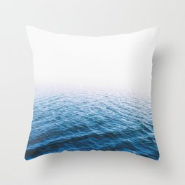 Sea, Ocean, Water, Blue, Modern art, Art, Minimal, Scandinavian, Wall art Print Throw Pillow