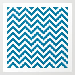 Cerulean Blue Chevrons Pattern Art Print