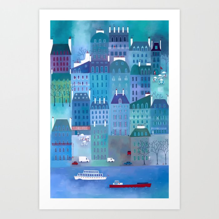 Paris Blues Painting Art Print