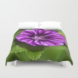 Purple Hollyhock Flower Duvet Cover