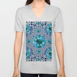 Aquamarine Gems Optical Pattern March Birthstone Art Unisex V-Neck