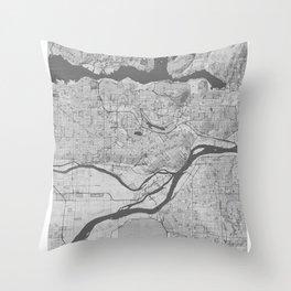 Burnaby Pencil City Map Throw Pillow