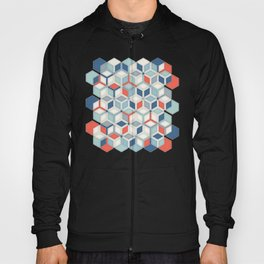 Soft Red, White & Blue Hexagon Pattern Play Hoody